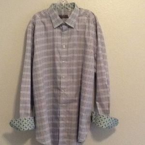 Robert Graham Paisley Flip Cuff Plaid Dress Shirt